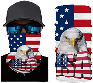 VCOROS 3D Skull Bandana Face Mask USA Flag Style Seamless Balaclava Tube Face Shield Mask For Men Women Bike Riding Motorcycle Fishing Hunting Cycling Outdoor Festival (WFTJ-55)