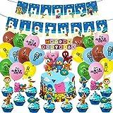 48 piezas POCOYO decoración cumpleaños Set Banner Pocoyo Globos Cinta Cupcake Toppers Pocoyo Party Supplies (48 unidades, PT-SC-030)