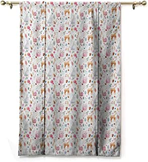 Andrea Sam Premier Thermal Insulated Curtain Nursery,Cute Animals Deer Snail Owl and Rabbit Watercolor Style Berries and Mushroom Design,Multicolor,35