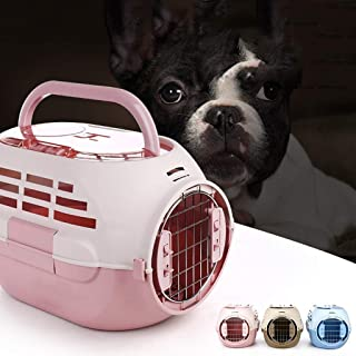 Pet Supplies Pet Portable Cage, Dog Out with Skylight Pet Air Box, Out Portable Cat Consignment Box, Air Cage,Blue (Color : Pink)