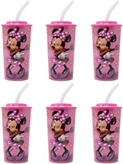 6-Pack Disney Minnie Mouse 16oz Reusable Sports Tumbler Drink Cups with Lids & Straws, Pink