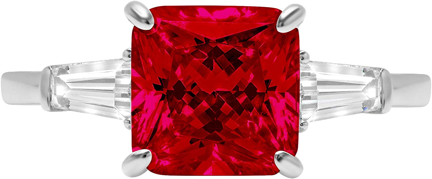 3.50 ct Asscher Baguette cut 3 stone Solitaire Accent Genuine Flawless Natural Red Garnet Gemstone Engagement Promise Statement Anniversary Bridal Wedding Ring Solid 18K White Gold