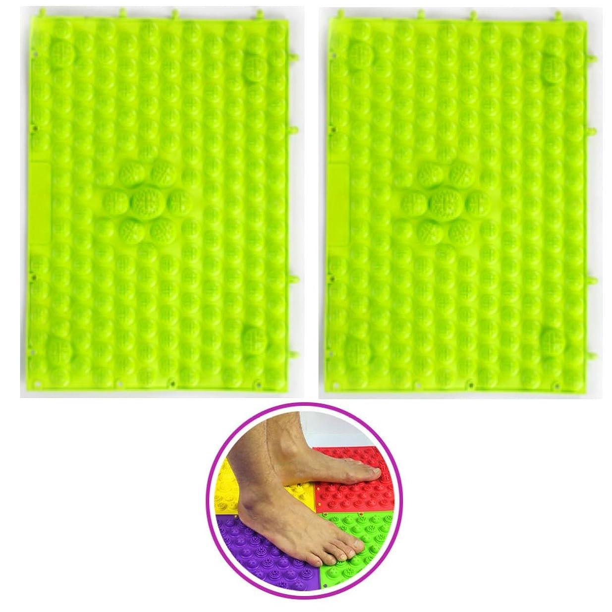 ささいな悪化させる水銀の(POMAIKAI) 足つぼマット マッサージシート 健康 ダイエット 足裏マッサージ 2枚セット(グリーン)