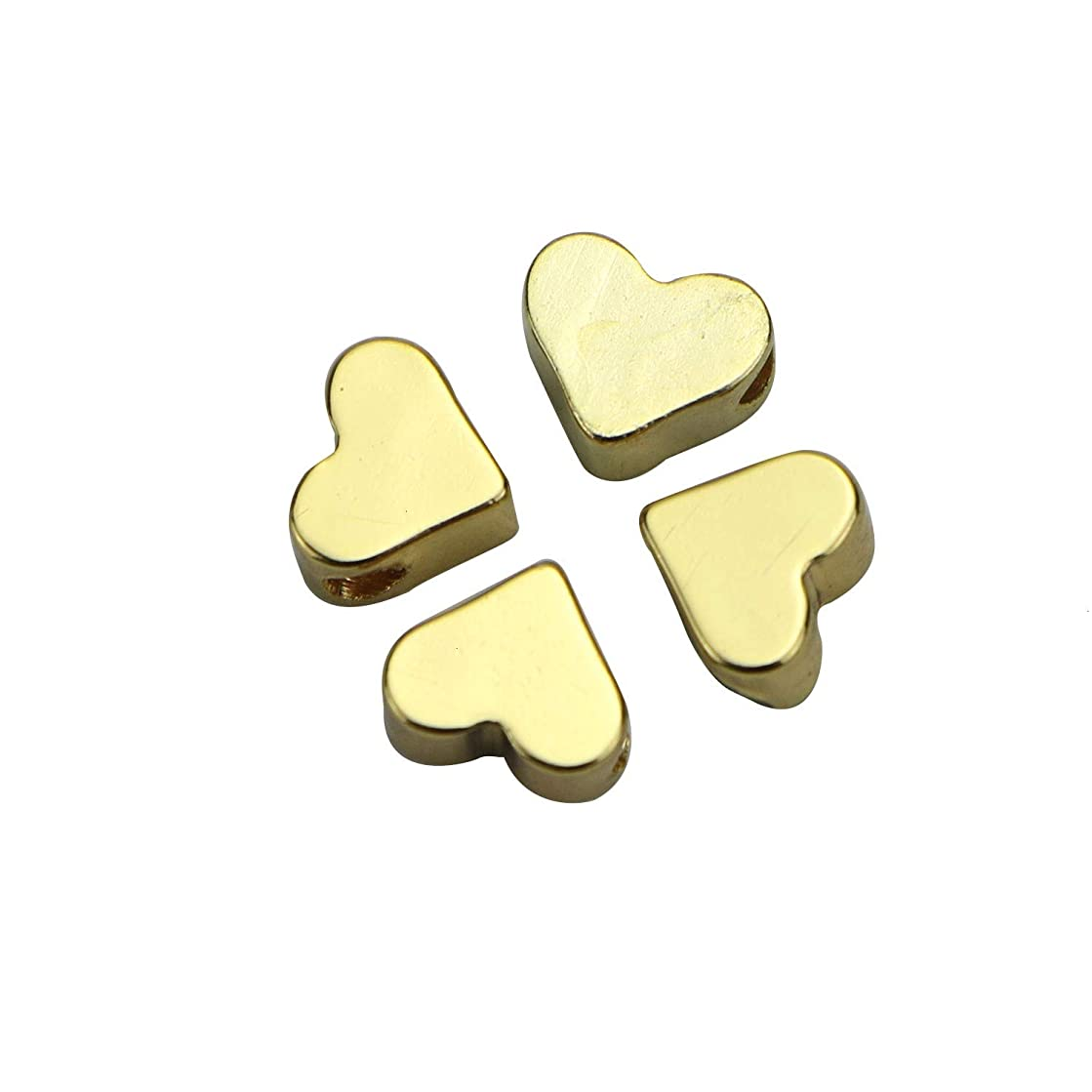 Monrocco 30PCS Gold Heart Small Hole Spacer Beads Fits DIY Handmade Charms Bracelets Accessories for Jewelry Making (76mm)