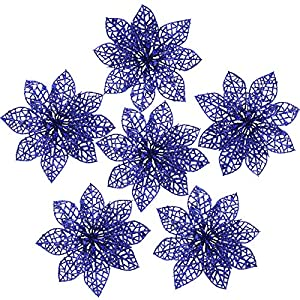 FUNARTY 30 Pieces Blue Glitter Poinsettia Christmas Tree Ornaments Artificial Christmas Flowers for Christmas Tree Wreaths Garland Holiday Wedding Decorations, 5.9-inch