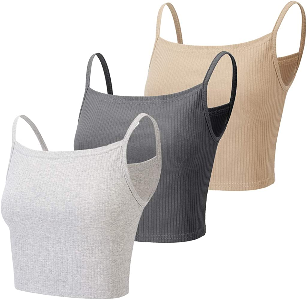 JESSIVO 3 Pieces Camisoles Crop Top Spaghetti Strap Ribbed Cropped Tank Top for Women