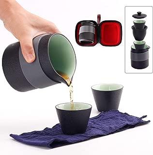 Dltsli Travel Ceramic Tea Pot Set Chinese Kung Fu Teapot, 1 Pot 2 Mini Cups Porcelain Teacups with Tea Infuser Portable Bag for Outdoor Picnic