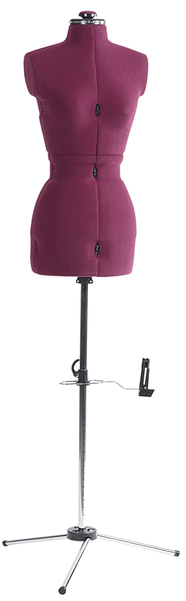 """Dritz 20100 My Double Dressform with Tri-Pod Stand Adjustable Up to 63"""" Shoulder Height, Small, Plum"""