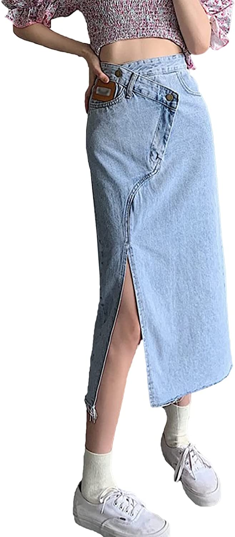 IKIIO Women's Fashion Casual High Waist Split Hem Slim Fit Skirts Denim Skirt with Pockets
