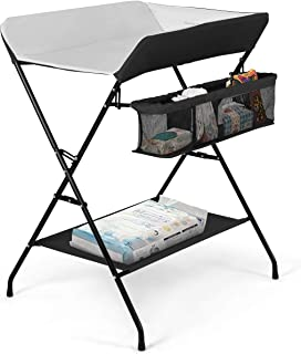 Costzon Baby Changing Table, Folding Diaper Station Nursery Organizer for Infant (Black)
