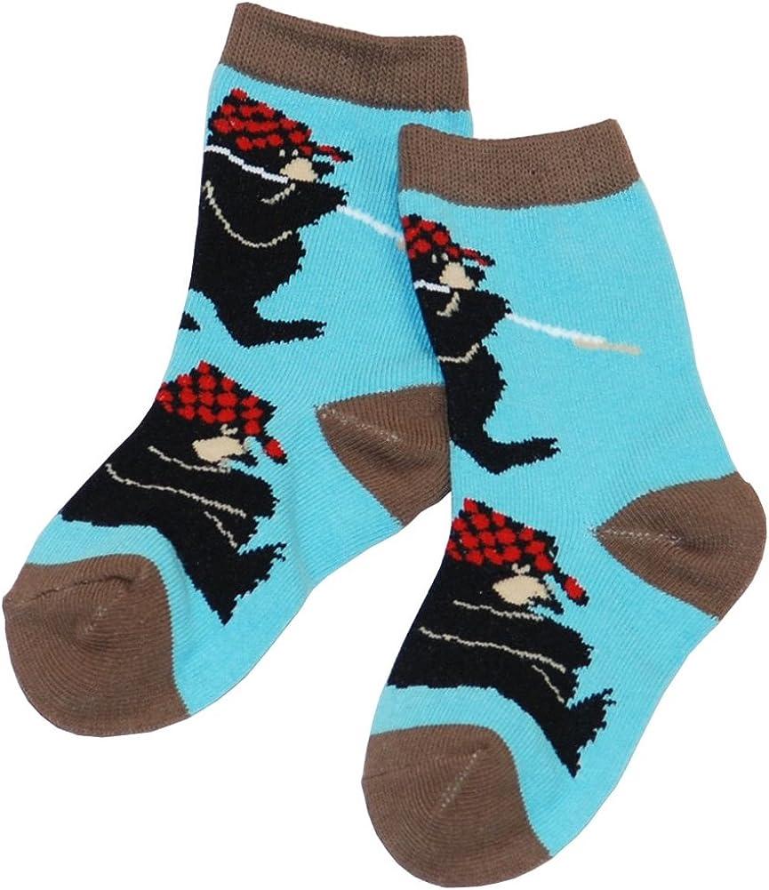 Animal World - Bear Sawing Logs Kid's Socks Light Blue