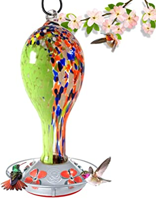 Grateful Gnome - Hummingbird Feeder - Hand Blown Glass - Green with Wildflower Tower - 30 Fluid Ounces Free Bonus Accessories S-Hook, Ant Moat, Brush and Hemp Rope Included