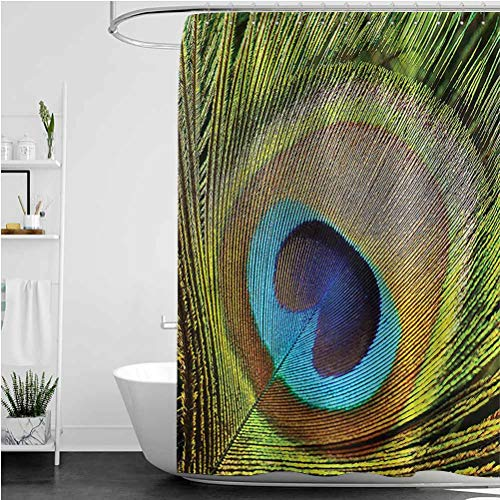 Interestlee Peacock Shower Curtain Green Peacock Feathers Easy Care Fabric Shower Curtain, 60 x 72 Inch