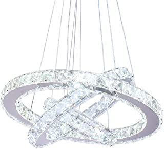 Dixun LED Modern Crystal Chandeliers 3 rings LED Ceiling Lighting Fixture Adjustable Stainless Steel Pendant Light for Bedroom Living Room Dining Room(White)