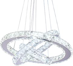 Dixun LED Modern Crystal Chandeliers 3 rings LED Ceiling Lighting Fixture Adjustable Stainless Steel Pendant Light for Bed...