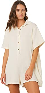 Swell Women's Tulula Button Through Playsuit Short Sleeve Cotton White