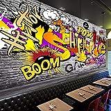 Hhkkck写真の壁紙3Dストリート落書き壁画Ktvバー背景壁画レストラン壁3 Dの現代の創造的な壁紙-280X200Cm