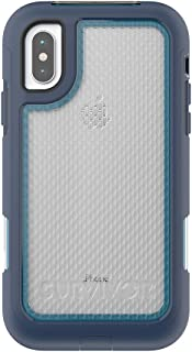 Griffin Technology iPhone X Rugged Case Survivor Extreme with Rotating Belt Clip 10' Drop Protection Slim Protective Case, Blue/Light Blue