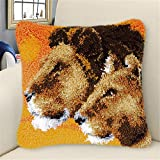 LAPATAIN Latch Hook Kits for DIY Throw Pillow Cover,Needlework Cushion Cover Hand Craft Crochet for Great Family 15.7X15.7inch Two Lions(Brown LA121)