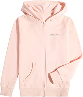 UNACOO Unisex Zipper Hooded Sweatshirt Solid Warm Fleece Hoodies for Boys and Girls