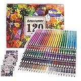 Lot de 120 crayons de coloriage pour adultes, idéal pour les artistes, les enfants, les dessinateurs, les étudiants - 4 livres de coloriage inclus