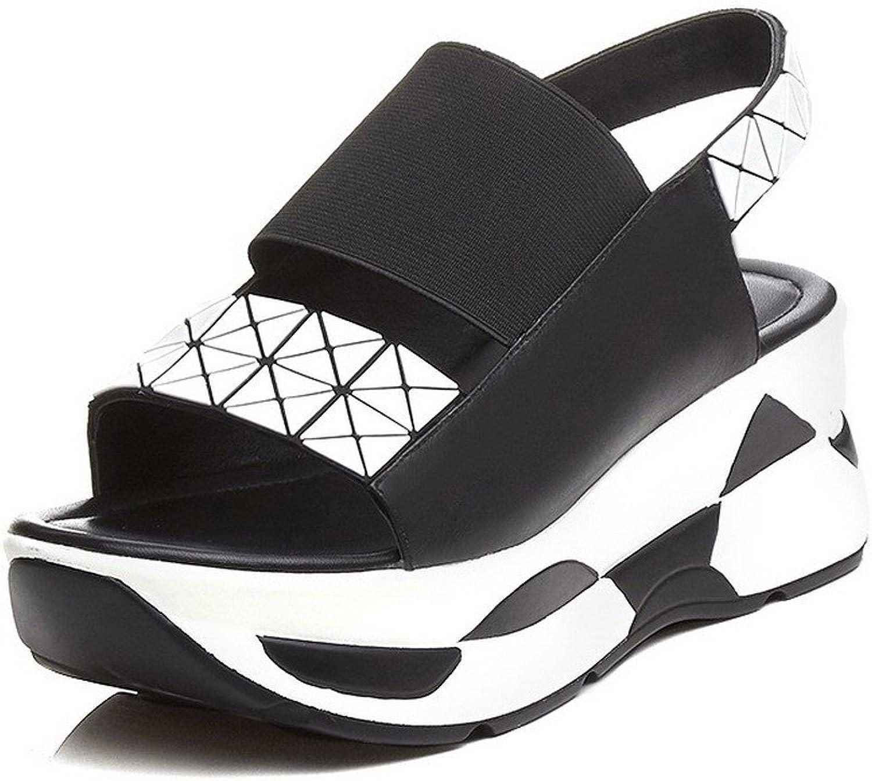 AmoonyFashion Women's Kitten-Heels Soft Material Assorted color Elastic Open-Toe Sandals