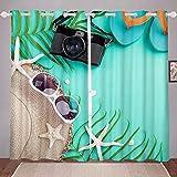 Cortinas oceánicas hawaianas para ventana, para dormitorio, sala de estar, para niños, niñas, verano, vacaciones, decoración de ventanas, tratamientos de ventana, W66 x L72