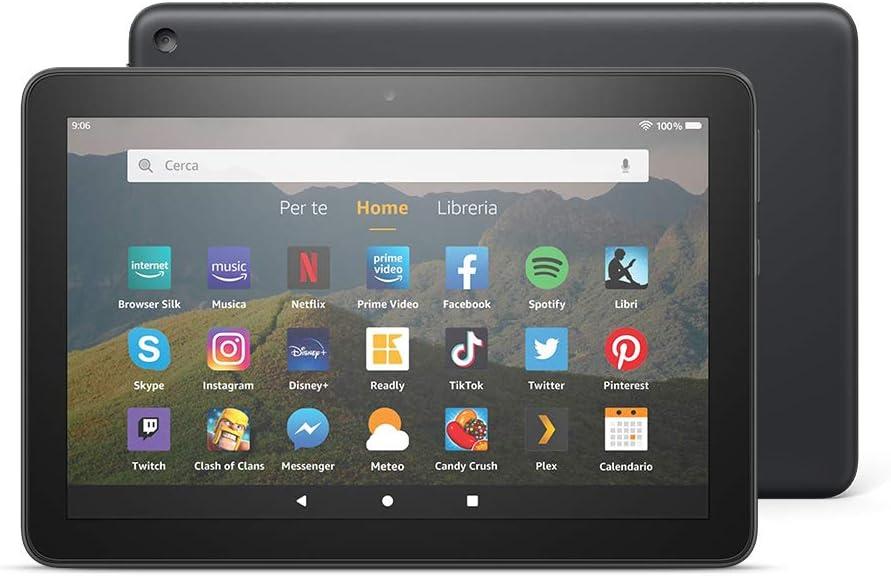"""Tablet fire hd 8   schermo hd da 8"""", 64 gb (nero) - con pubblicità"""