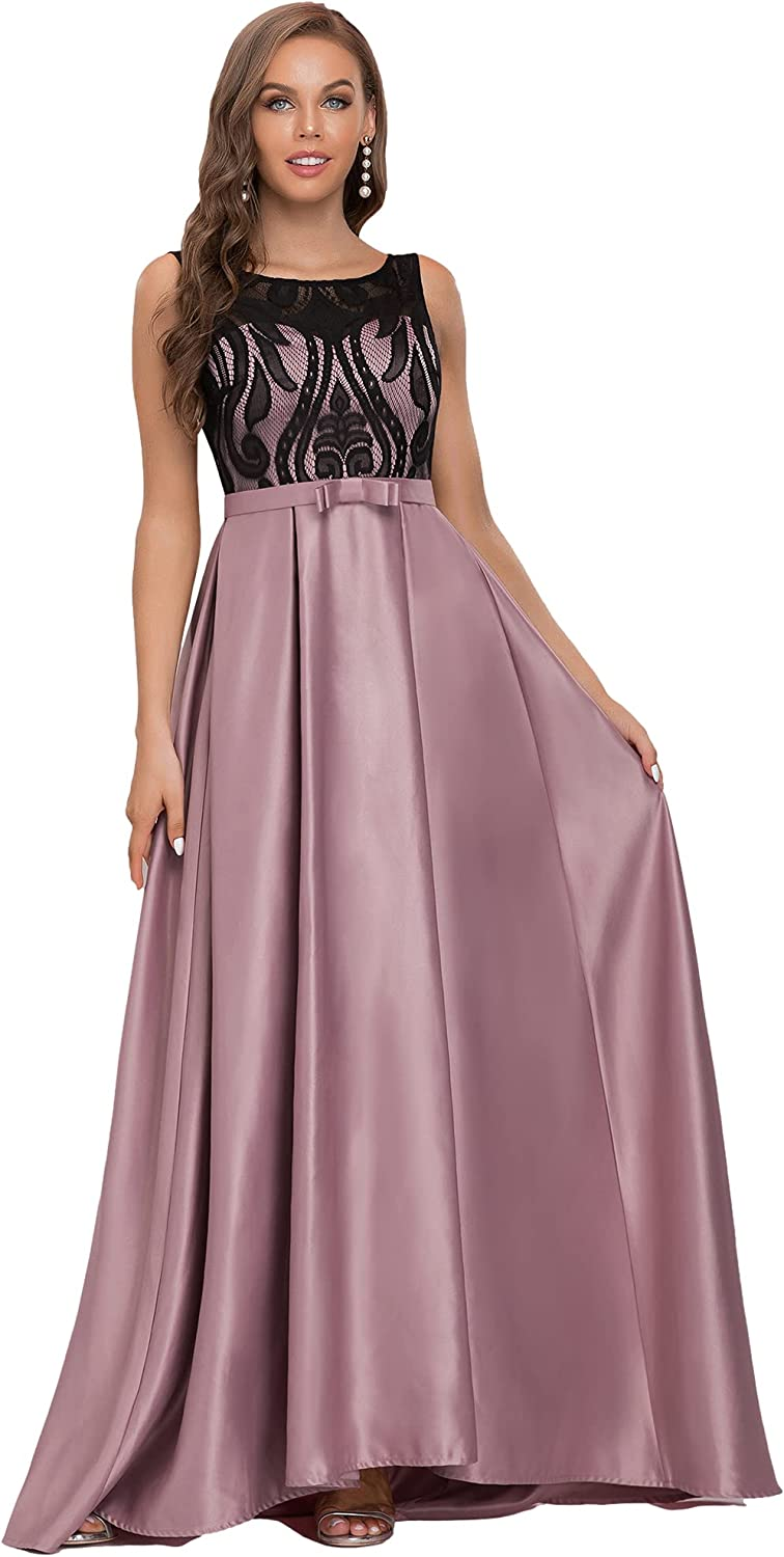 Ever-Pretty Women's Maxi Sleeveless A-line Round Neck Lace See-Through Evening Dress 50060