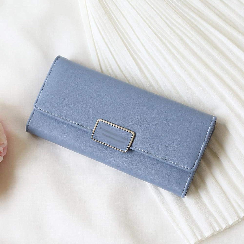 Girls Purse Women's Wallet Women's Purse PU Large Wallet MultiCard Buckle Purse 19  2  9.5cm (color   B)