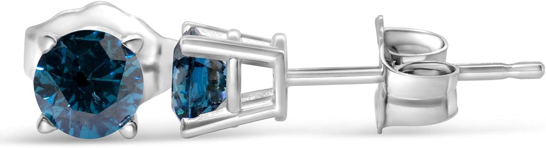1/2 Carat TW Blue Round Diamond Stud Earring in 14k White Gold (I1-I2)