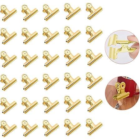 Paquete de 30 Clips de Bulldog – Clips de Papel Dorados, Mini Clips de Metal, Clips de Bisagra Pequeños Para Fotos, Bolsas de Café Para Comida, Cocina Para el Hogar, Suministros de Oficina (22 mm)