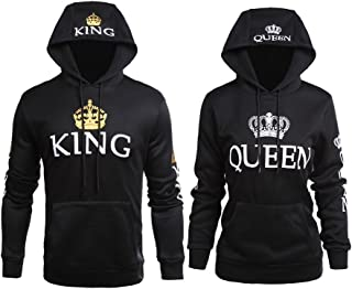 YJQ King and Queen Matching Couple Hoodies His and Her Pullover Hoodie Sweatshirt Set