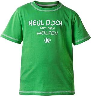 VfL Wolfsburg T-Shirt Balljunge Aufdruck: Heul doch mit den Wölfen Kinder/Babyausstattung Größe 86/92-110/116 98/104