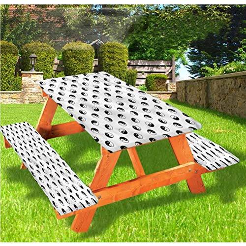 Yin Yang Nappe ajustée avec housses de banc Oneness Harmony Philosophie Bord élastique - 28 x 72 cm - Ensemble de 3 pièces pour le camping, la salle à manger, l'extérieur, le parc, la terrasse