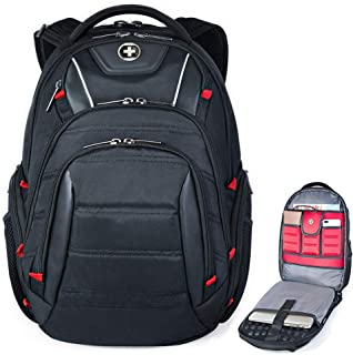 Swiss Backpack for Men, TSA Smart Scanner Friendly Laptop Business Travel Backpacks with USB Charging Port & RFID Protection Fits in 15.6 Laptops