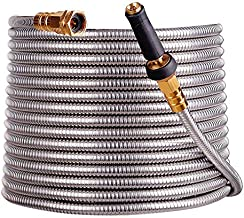 scriptract 50'304 Stainless Steel Garden Hose with Free Removable Brass Nozzle Lightweight Metal Hose - Portable Durable and Resistant to Knots, Tangles and Punctures (50)