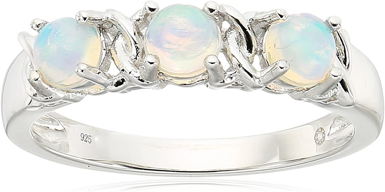 Sterling Silver Ethiopian Opal And Accented 3-st Kisses Hugs Quantity National uniform free shipping limited