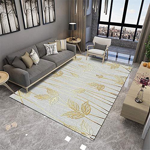 Bedroom Mat Alfombras Habitacion Matrimonio Alfombra de Sala de Estar Moderna Hojas de Oro Simple Suave Dormitorio Alfombra Restaurante Dormitorios Matrimonio 100X160cm