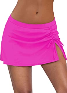 Byoauo Women's Swim Skirt Ruched Swimsuits Solid Color Bikini Bottoms