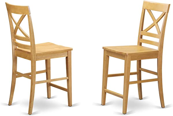 QUS OAK W Quincy Counter Height Stools With X Back In Oak Finish Set Of 2