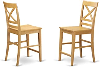 QUS-OAK-W Quincy Counter Height Stools With X-Back in Oak finish-Set of 2