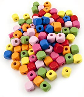Hygloss Products Colorful Wooden Cube Beads - 10mm Bright Colored Decorative Accessories for Art Projects, Beading, and Wo...