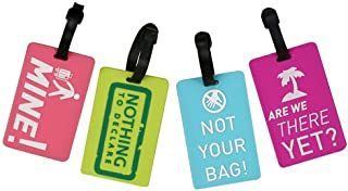 Zhichengbosi 4P Candy Color Luggage Label Mixed Design Luggage Bag Tags ID Address Holder Set