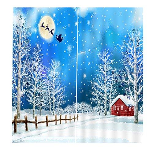 Sharplace Schlafzimmer Vorhang Mit einzigartigen Szenen von Weihnachten Party Deko Zubehör - Muster #10