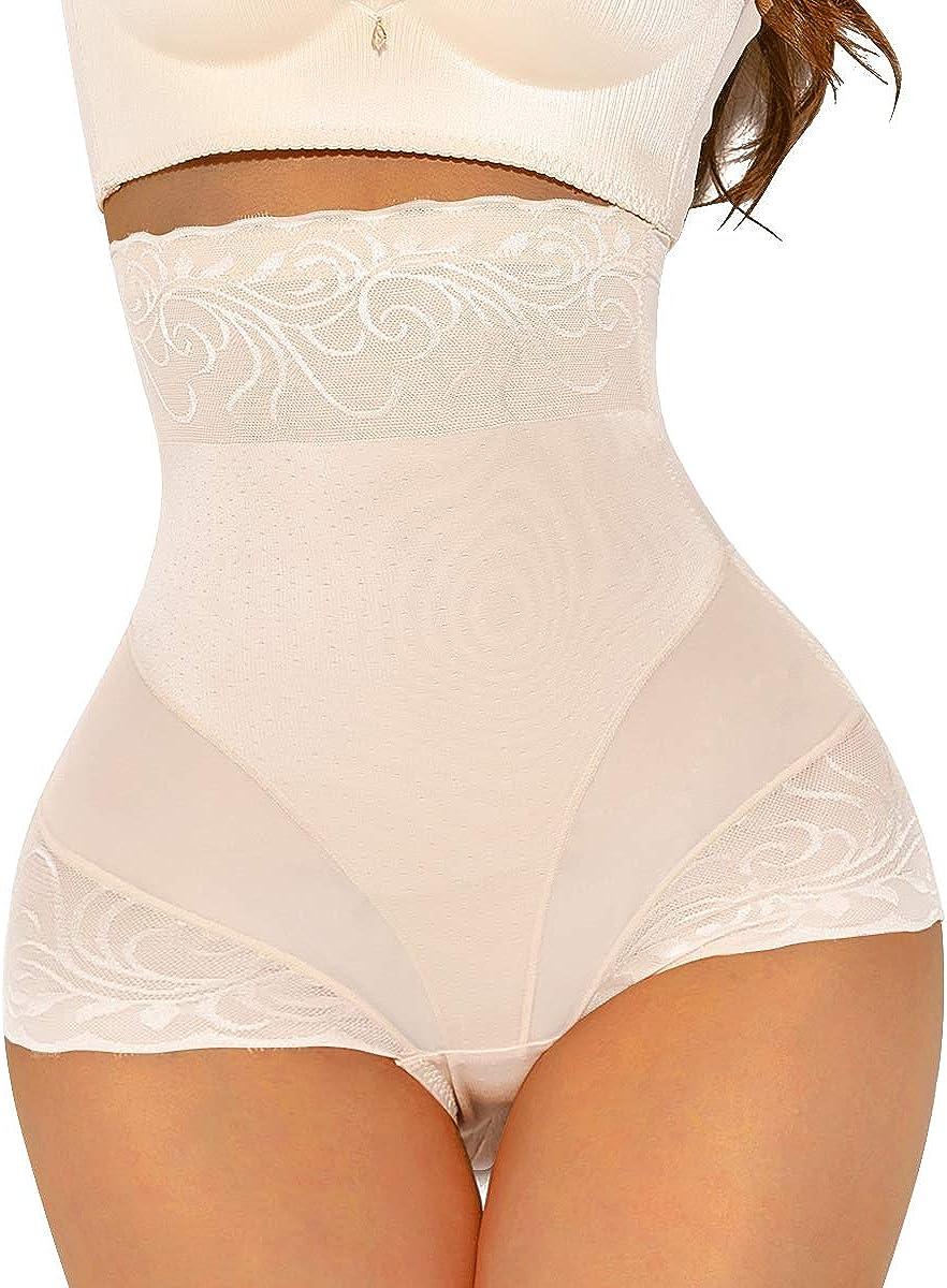 Finlin Women Body Shaper High Waist Butt Lifter Control Thong Panty Slimmer Panties Waist Trainer Beige