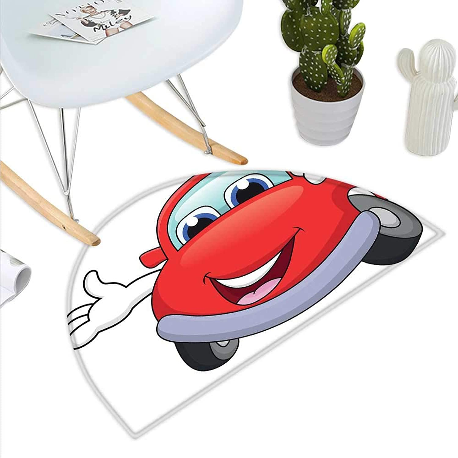 Cars Semicircle Doormat Cartoon Red Car with Eyes Mouth and Hands with a Thumbs Up Happy Image Print Halfmoon doormats H 35.4  xD 53.1  Vermilion purplec