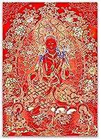 中国の巻物アート チベット仏教仏キャンバスプリント絵画ポスターインド中国禅Zenホーム装飾壁アート絵ビジネスルームフレームなし 家の装飾のために掛ける準備ができている風水絵画 (Color : A, Size : 40x50cm No Frame)