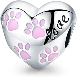 FOREVER QUEEN Heart Shape Charm Beads With Pet's Foot 925 Sterling Silver Pendant With Cut Cat Claw Fit Pandora Bracelet N...