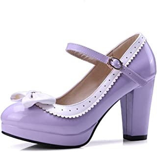 fb660cea1be Shoe N Tale Women s Mary Janes Shoes Cute Bow-Knot Round Toe Lace Chunky